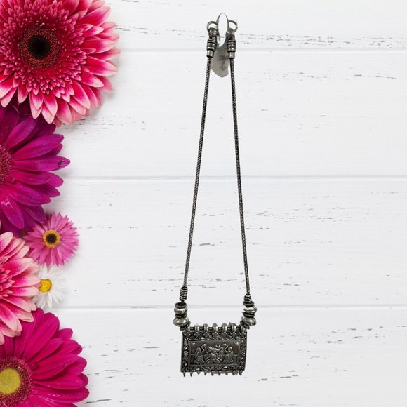 Oxidized necklace w/ intricately designed pendant